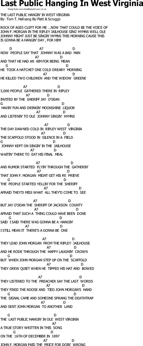 Old Country song lyrics with chords - Last Public Hanging