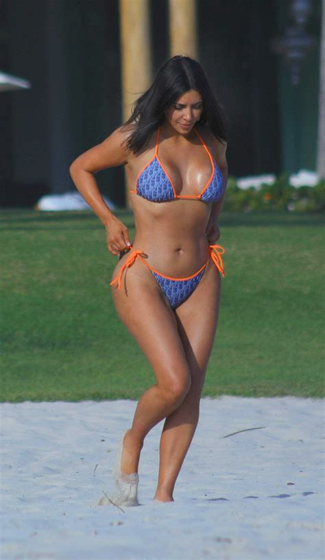 Kim Kardashian in Blue Bikini on Vacation in Mexico