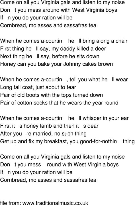 Old-Time Song Lyrics - West Virginia Gals