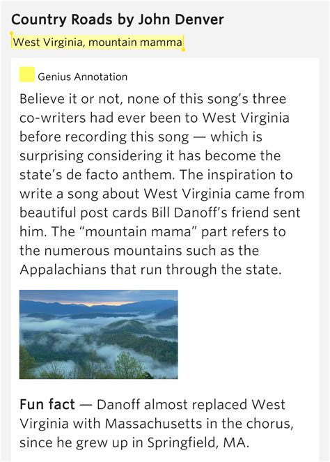 West Virginia, mountain mamma – Country Roads Lyrics Meaning