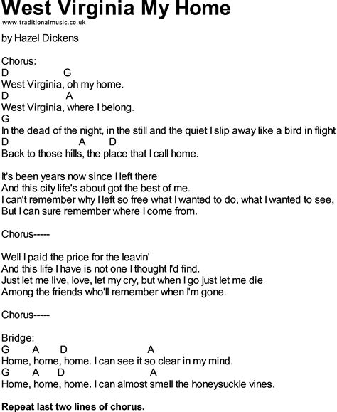 Bluegrass songs with chords - West Virginia My Home
