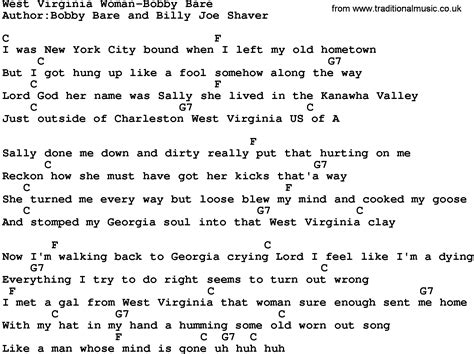 Country Music:West Virginia Woman-Bobby Bare Lyrics and Chords